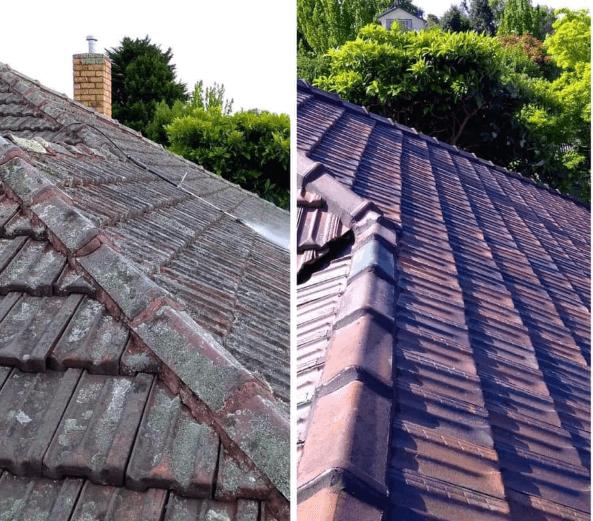 Before aand after roof restoration