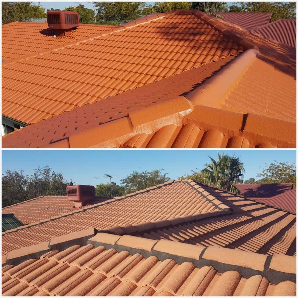 Before aand after colorbond roof cleaning by Brennan Roofing