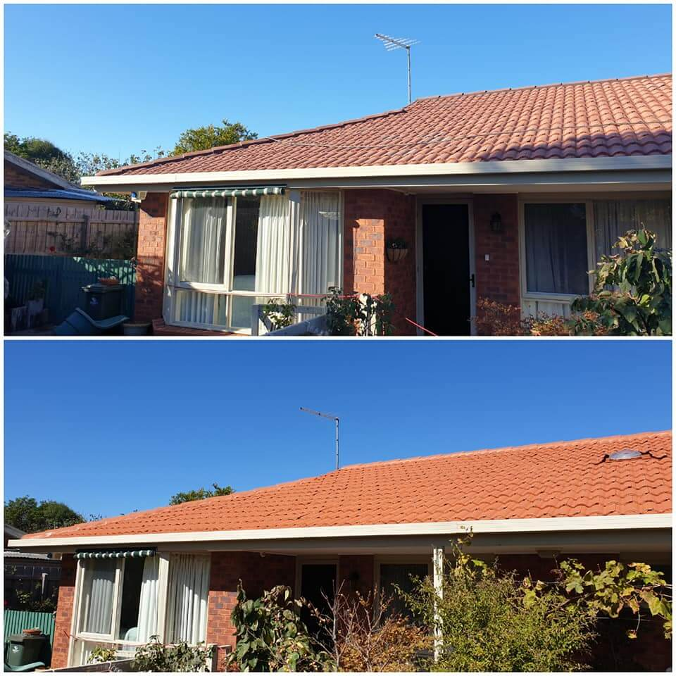 before and after roof restoration, tiled roof restoration