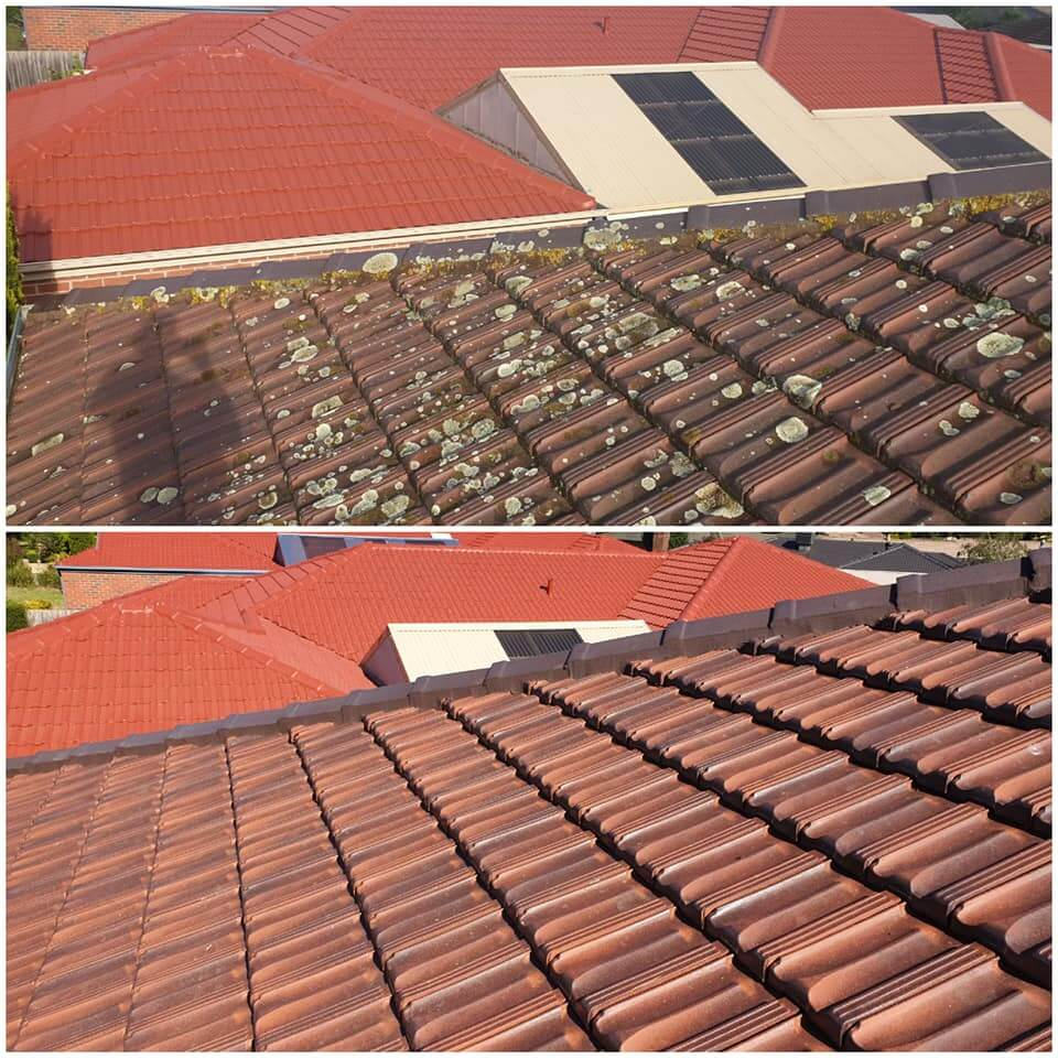 roof restoration lysterfield, before and after tiled roof restoration